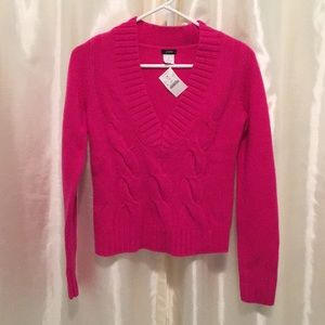 NWT J.Crew Cable Knit V-Neck Pink Sweater